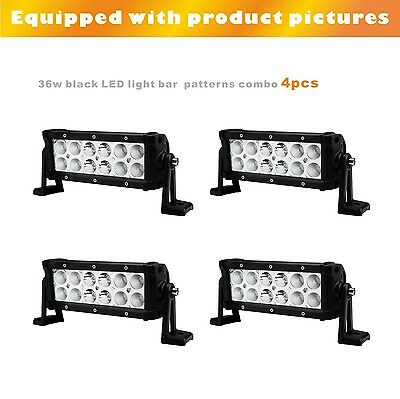 4PCS 36W 8inch LED light bar combo beam black 6000K for JEEP,SUV,4X4,ATV,OFFROAD