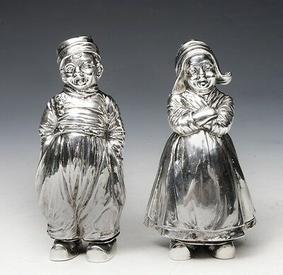 Victorian Solid Silver Novelty Salt & Pepper Shakers  c.1913