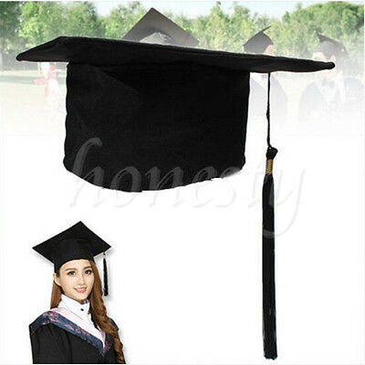 Black Graduation Hat Mortar Board Graduate Costume Academic School Party Cap