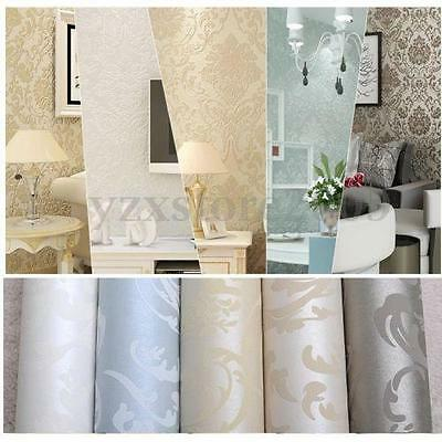 10M Non-Woven Damask Pattern Style Embossed Bedroom TV Wallpaper Rolls Decor AU