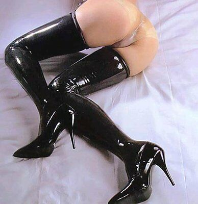 PVC Wet Look Fetish Rocky Horror Ebay Longest 95cm Length Customized Stockings
