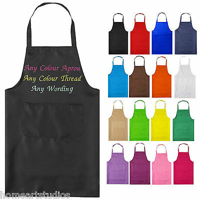 Personalised Embroidered Apron Catering Kitchen Wear Any Colour Wording Name