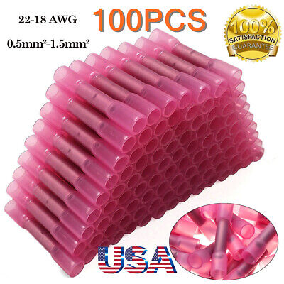 100PCS 16-14GA Insulated Male&Female Spade Heat Shrink Wire Connectors Terminals
