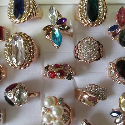 Wholesale Rings 5 - 30 Big Diamonte Rose Gold Crystal Oval Marbled Vintage Box