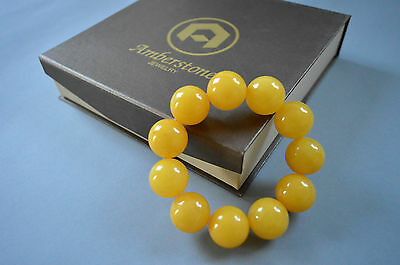 Bracelet made of Baltic Amber round beads butterscotch color 20mm 49.6 grams
