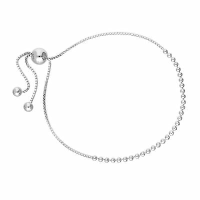 Real 925 Sterling Silver 10 Inch Bead Chain & Box Chain Adjustable Bracelet