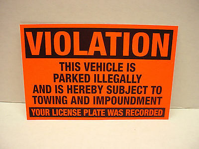 10 VIOLATION Parked illegally Towing Impoundment Warning NO Parking Sign Sticker