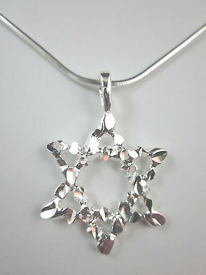 """Silver Plated Large Star of David Diamond Cut Pendant 18"""" Square Snake Chain"""