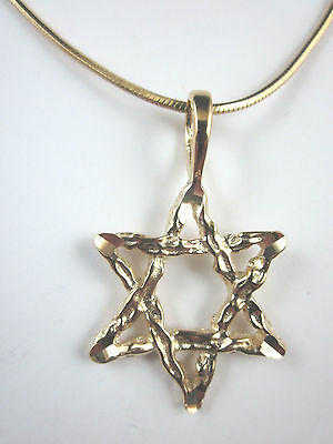 """Gold Plated Large Star of David Diamond Cut Pendant 18"""" Square Snake Chain 1.6mm"""
