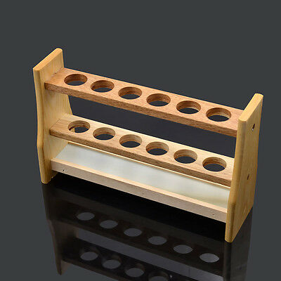 Wooden 6 Holes Test Tube Rack Holder for Medical Research Chemistry Lab Supplies