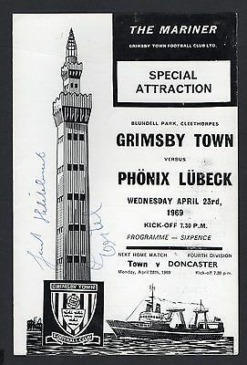 Grimsby Town v Phonix Lubeck Football Programme 1968/69 with 2 autographs