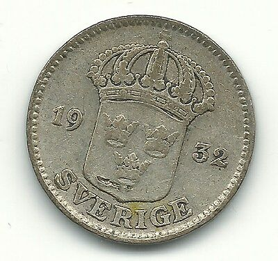 A Very Nice Vintage 1932 Sweden Silver 25 Ore Coin-Oct282