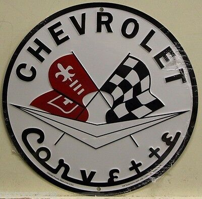 "CHEVROLET CORVETTE 12"" metal sign white embossed vette logo chevy muscle rd-58"