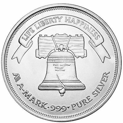 New 1 oz A-Mark Mint .999 Fine Silver Liberty Bell Round  ++ Add-ons available !