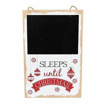 Wooden Sign Sleeps until Christmas with Blackboard Area Childrens Gift Sign