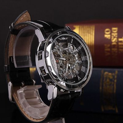 Men's Skeleton Transparent Mechanical Stainless Steel Leather Sport Wrist Watch