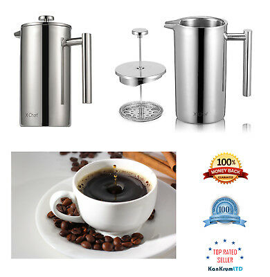 French Press Double Wall Stainless Steel Coffee Press Espresso Maker Kitchen Acs