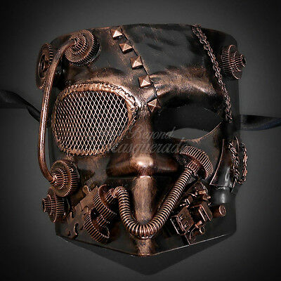 Steampunk Bauta Full Face Halloween Costume Masquerade Mask for Men - Copper