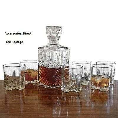 Whiskey Boxed Set Of 6 x 200ML Glass Wine Tumblers Square Decanter Bottle
