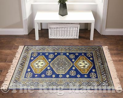 BUKAN ART SILK BLUE AZTEC PERSIA THIN TRADITIONAL FLOOR RUG RUNNER 68x230cm *NEW