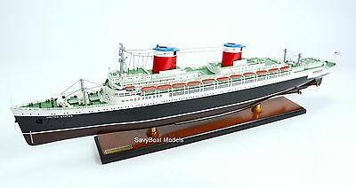 """SS United States Ocean Liner 34"""" with lights Handcrafted Wooden Ship Model"""