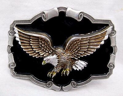 GAP 1997 Solid Pewter & Enamel Belt Buckle With Fierce Eagle Gift Quality