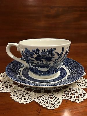 Vintage Churchill China Willow Cup And Saucer