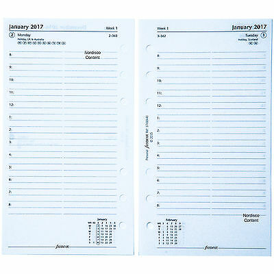 2017 Filofax Personal Size Refill, 17-68441 C68441, One Day On A Page, 6.69x3.74
