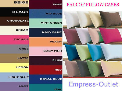2 x Pillow Cases Poly-cotton Housewife Pair Pack Bedroom Luxury Pillow Cover