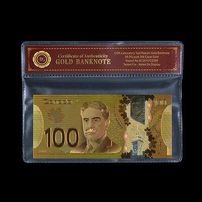 WR Canada 100 Dollars 2011 Polymer Banknote 24k Gold Foil Bill Note Nice Detail