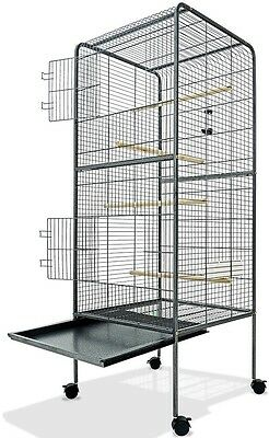 Large Bird Aviary Cage 4ft10 Metal Steel Birdcage on Castors 146cm High Silver