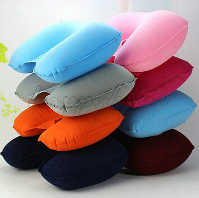 INFLATABLE TRAVEL NECK PILLOW Soft FLIGHT REST/SUPPORT CUSHION HEAD & NECK