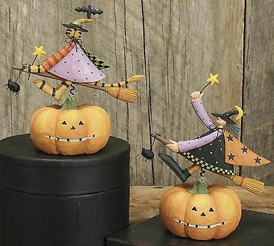 Witch Riding Over a Pumpkin - Williraye -6105 - New in Box - Witch Only