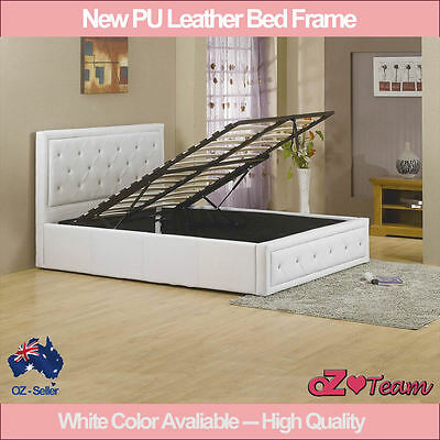 White Colour Pu Leather Bed Frame Gas Lift Double Queen King Size