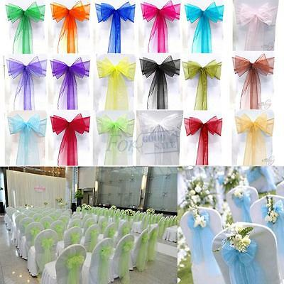 New 100pcs Organza Sashes Chair Cover Bow Sash Wider Fuler Bows Wedding Party