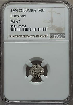 1864 Colombia 1/4 Decimo, Papayan Mint, NGC MS 64, Finest By 3 Grades, Superb