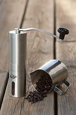 Manual Coffee Grinder Brushed Stainless Steel Conical Burr Mill Precision Brew