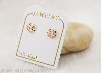 347674fd805d Real 14k Yellow Gold Rose Flower Earrings Stud Screw Back Aretes Flor Rosa  Oro