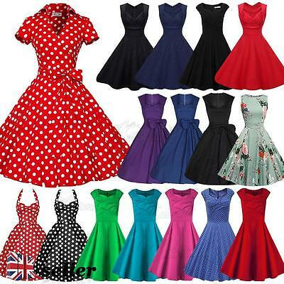 UK Womens Vintage 1950s Swing Tea Dresses Evening Party Retro Rockabilly Skater