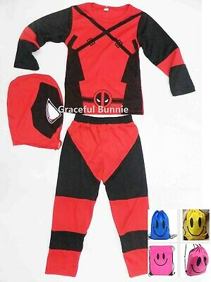 BNWT Deadpool Kids Costume Dress up Cosplay - 3-10yrs