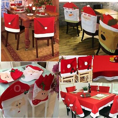 Red Santa Hat Tablecloth Table Chair Cover Christmas Party Dinner Xmas Decor