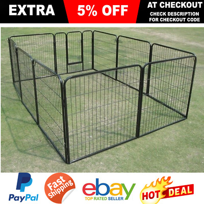 10 Panel Large Portable Dog Pup Run Exercise Pen Cage Kennel Metal Playpen Door