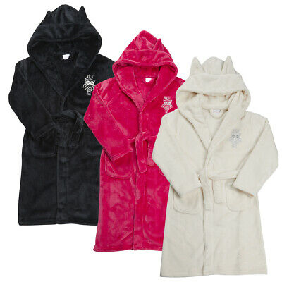 Childrens Girls Emroidered Robe Dressing Gown Nightwear Hooded Flannel Fleece