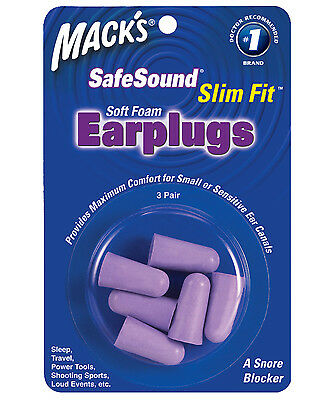 Macks Sleep Travel work Earplugs - Mack's Slim Fit Soft foam 3 Pairs Ear plugs
