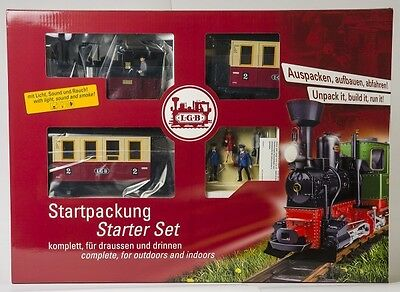 Lgb - Steam Loco + 2 Coaches + Track Electric Passenger Uk Starter Set 'G' Scale
