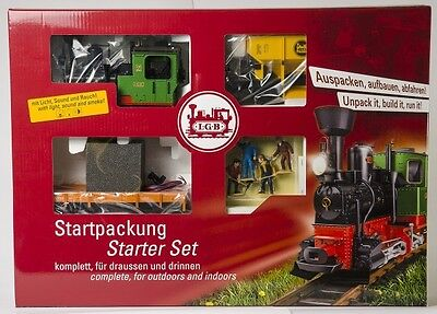 Lgb - Steam Loco + 2 Wagons + Track Electric Freight  Uk Starter Set 'G' Scale