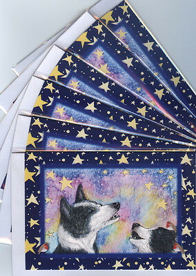 6 x Border Collie dog holiday Christmas cards howling singing robin Susan Alison