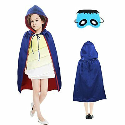 Starkma Kid Witch Satin Cloak with Hood with Felt Mask (Blue and Red)