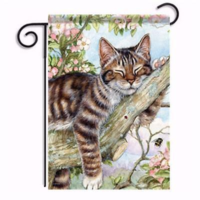 Sleeping Cat Tree Garden Flag Double Side House Yard Hanging Banner Home Decor