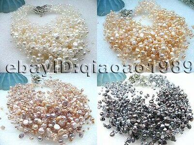 Free shipping wholesale 40 pieces 5-row freshwater pearl necklace